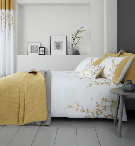 Catherine Lansfield Embroidered Blossom White Ochre Bedding Set